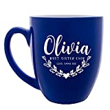 Personalized Coffee Mug w Name | 16oz - 7 Color | Engraved Custom Ceramic Coffee Cup - Personalized Best Sister, Mother, Wife Gift - Taza Personalizada, Your Own Text #C3