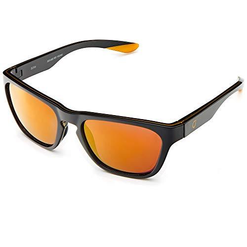 Briko Bora Mirror Color HD Gafas Sol Casual, Unisex Adulto, Shiny Black, One