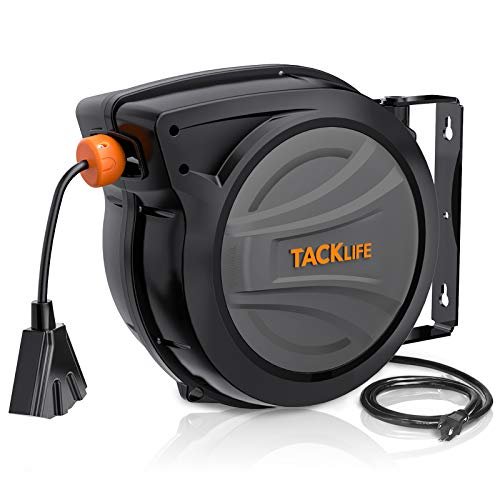 TACKLIFE Retractable Extension Cord, With 50FT + 4.5 Telescopic Extension Cord Reel, 14AWG, 3C SJTOW, Triple Socket, 180° free rotation, Reset Button and Adjustable Stopper