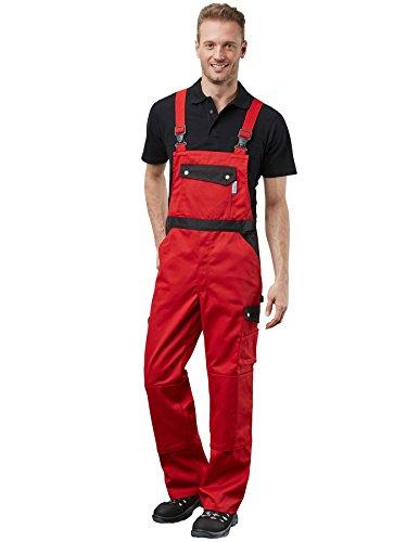 PIONIER WORKWEAR Herren Latzhose Active Style in schwarzrot (Art.-Nr. 2614) rot/schwarz,Größe 60