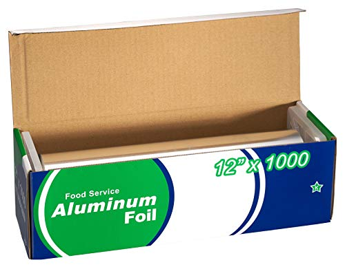 EcoQuality [1 Pack] Food Service Aluminum Foil Roll (12' x 1000) with Sturdy Corrugated Cutter Box - Great for Grill Use, Kitchen Wrap, Foil Wrap, Cooking, Cleaning