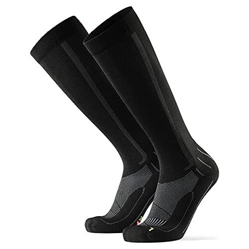 Abgestufte Kompression Socken für Männer & Frauen EU 43-47 // UK 9-12 Schwarz/Grau - 1 Paar