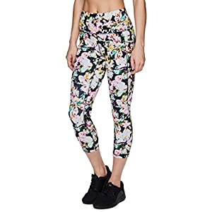RBX Active Women's Plus Size Athletic Fashion Watercolor Floral Lily Printed Running Yoga Ultra Hold Squat Proof Legging Capri with Pockets S20 Watercolor Lily 3X
