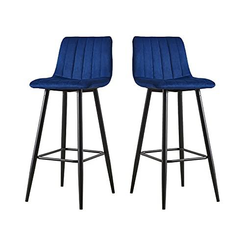 CLIPOP Juego de 2 taburetes de bar de terciopelo azul con respaldo y patas de metal negro, 2 taburetes de cocina altos