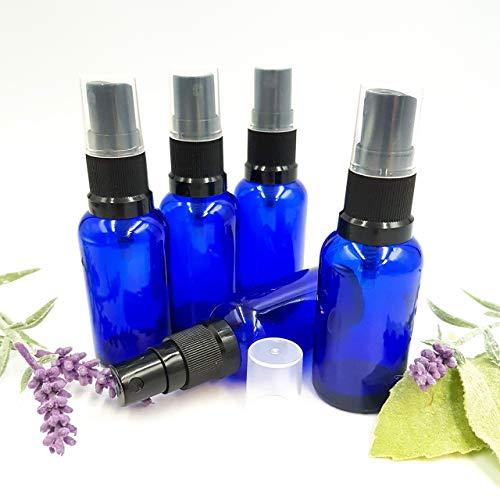 Botella de vidrio azul de 5 x 30 ml con atomizador NEGRO/Spray Top. ¡Hace una botella de aerosol de almohada ideal!