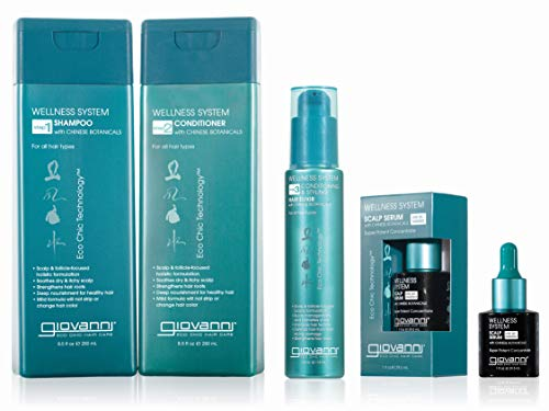 GIOVANNI Wellness System Shampoo, 8.5 oz. Chinese Botanicals & Ginseng Helps Soothe Dry & Itchy Scalp, Deep Nourishment Strengthens Hair Roots, Sulfate Free, Paraben Free, Color Safe (Pack of 1)