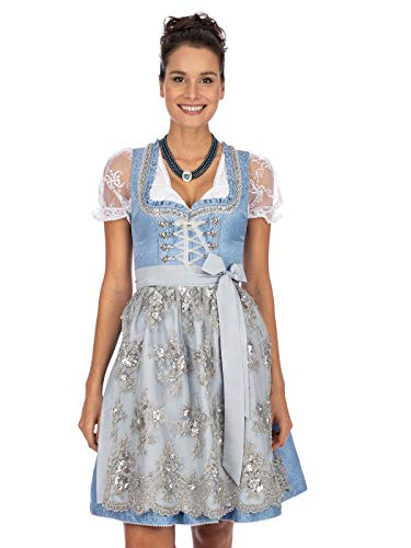 Stockerpoint Damen Dirndl Anastasia Kleid für besondere Anlässe, hellblau-Silber, 46