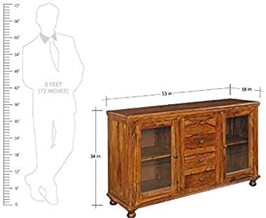 Shilpi Handicraft Solid Wood Cabinet for Living Room Crockery Unit Wardrobe Without Glass Door & Drawers