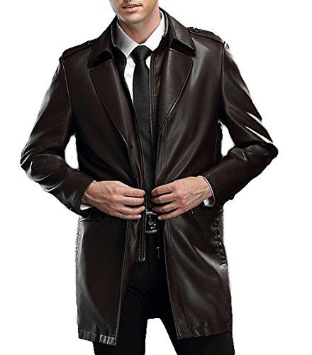 PLAER pour des Hommes Revers Entreprise Manteau de Cuir en Cuir d'agneau Car Coat (XL, café)