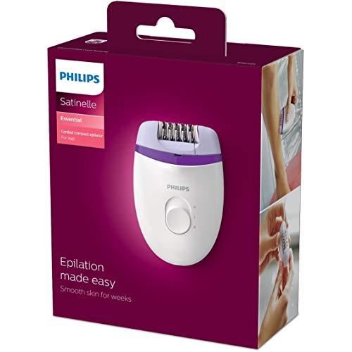 Philips BRE225/00 Satinelle Essential Epilatore Elettrico Compatto, Bianco/Viola