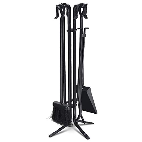 Tangkula 5 Pieces Fireplace Tools Wrought Iron Toolset 4 Tools & Decor Holder Indoor Outdoor Tong,Poker, Base, Shovel,Brush Fireplaces Hearth Accessories