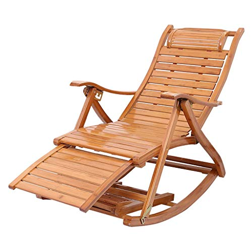 XJN Garden Rocking Chair Simple Folding Relax Lounger Chair with Head Pillow,Outdoor Seat Bamboo Recliner,Portable Armchair
