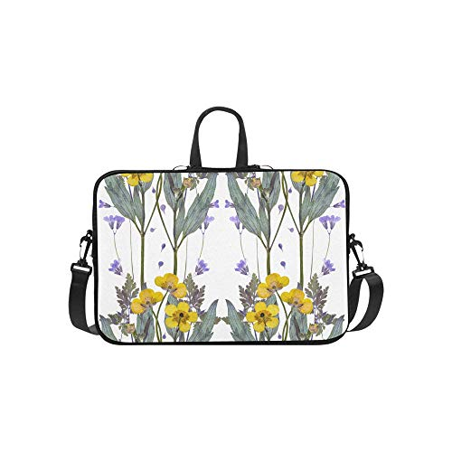 Laptop Shoulder Bag Messenger Bag Case Notebook Handle Sleeve Neoprene Soft Carring Tablet Travel Case, Pressed Dried Buttercup Flowers Pattern On Laptop Handbags 14'