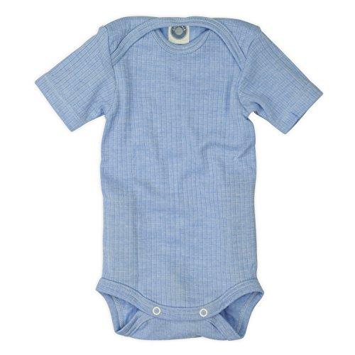 Cosilana Baby Body 1/4 Arm, Größe 86/92, Farbe hellblau aus feiner Seide Wolle und Baumwolle kbA/kbT