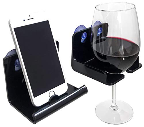 Atlas Hold Acrylic Beer Holder Bathtub Wine Glass Holder, Suction Phone Holder | Bathroom Wine Caddy | Wine Accessories and Bath Accessories (Set of 2) Black