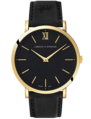 Larsson & Jennings LJXII Lugano Unisex Mens & Womens Watch with 40mm Black dial and Black Leather Strap LX40-LBK-GB.