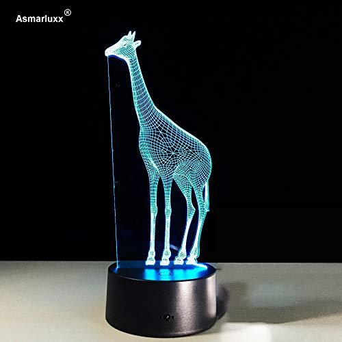 Lámpara de Escritorio de Jirafa lámpara de ilusión Animal de Dibujos Animados lámpara de bebé increíble con lámpara de alimentación para iluminación de decoración de habitación de niños