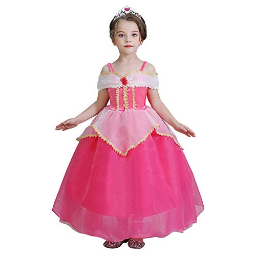 OwlFay Disfraz de Princesa Aurora Niña Vestido de Bella Durmiente Fancy Dress up Carnaval Fiesta Cosplay Navidad Costume 3-9Años
