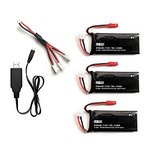 Aya611 Original para Hubsan H502 H502E 7.4V 610mAh batería lipo 15C 4.5WH batería con Juego de Cargador USB para Quodcopter Drone Parts-Red
