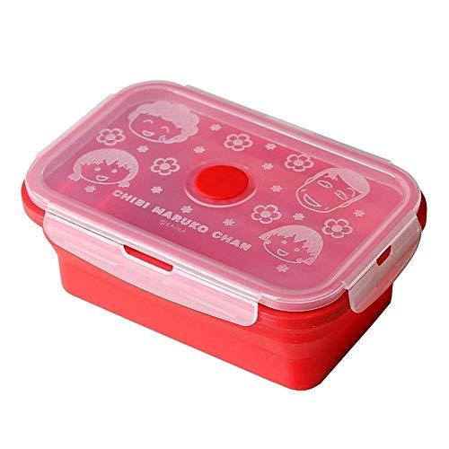 Cttiulifh Boîte à lunch, silicone rouge pliant Boîte à lunch, déjeuner Voyage portable Boîte, Boîte de fruits, de l'Alimentation Conteneur, Micro-ondable, lave-vaisselle, Convient for les femmes et le