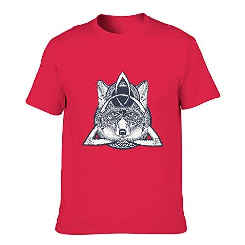 MiKiBi-77 Hombres Algodón Camiseta Viking Wolf Moda Cuello Redondo - Top Shirt para Correr