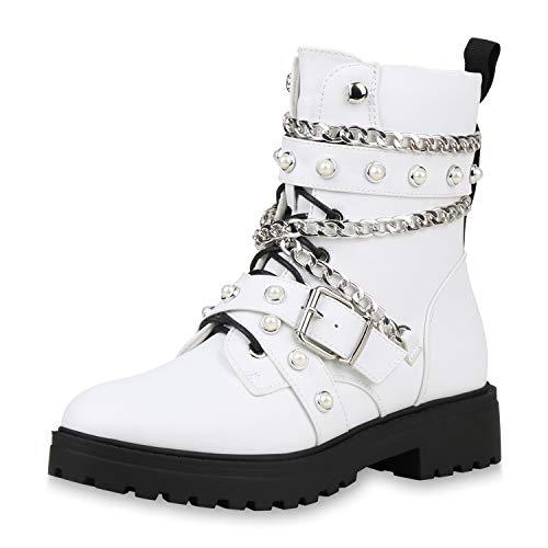 SCARPE VITA Damen Stiefeletten Schnürstiefeletten Leicht Gefütterte Stiefel Ketten Schuhe Biker Boots Zierperlen Punk Schnürboots 187720 Weiss 39