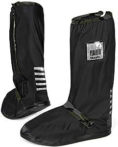PERLETTI - Cubrecalzados Impermeables Negros Altos - Cubrezapatillas Reflectantes Antideslizantes - Galochas Lluvia Nieve - Protectores Zapatos PVC Resistentes y Reutilizables (L 43/45, Camuflaje)