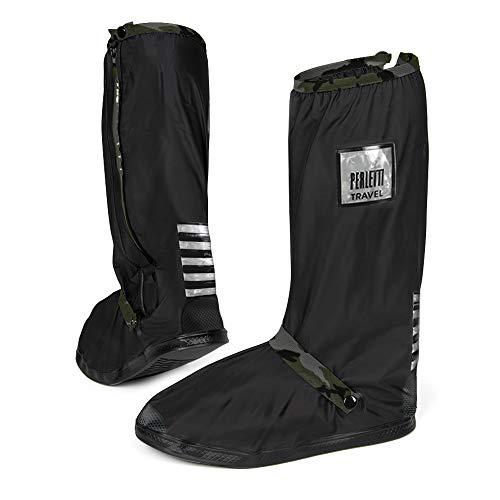 PERLETTI Überschuhe Schwarz Wasserdicht Beständig Rutschfest - Schuhüberzieher Wiederverwendbar Verstärkt mit Reflektorstreifen - Hohe Regenschutz Galoschen für Regen Schnee (M (40/42 EU), Tarnfarbe)