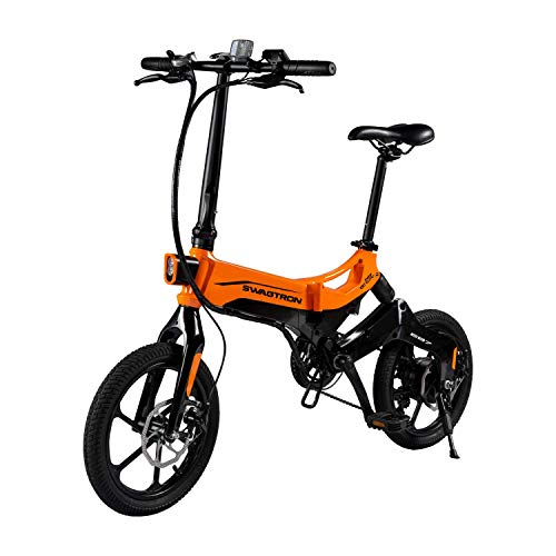 Swagtron EB7 Plus Folding Electric Bike with Removable Battery & 7-Speed Shimano | Pedal-Assist eBike with Suspension & 16-Inch Tires | 350W Motor - Extended 19-Mile Range