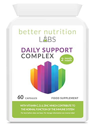 Daily Support Complex - 60 Day Supply - Vitamin C, D3, K2, Zinc, Magnesium, Essential B Vitamins, Niacin, Vitamin A, and Copper in a Convenience one a Day Capsule for Normal Immune System Function