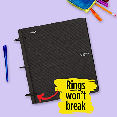Five Star Flex Hybrid NoteBinder, 1 Inch Binder with Tabs, Notebook and 3 Ring Binder All-in-One, Black (72009)