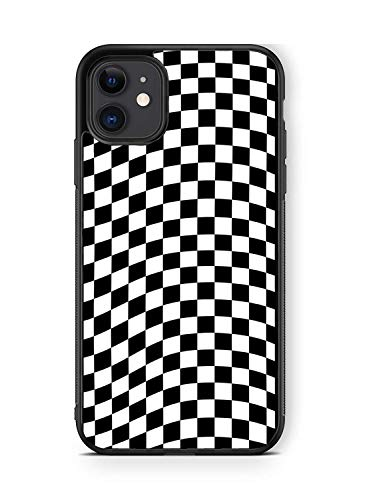 iPhone 11 Pro Max Case, Black Checkerboard Checkered Flag Pattern Artistic Thin Soft Black TPU +Tempered Mirror Material Protective Case for Apple iPhone 11 Pro Max Cases (C-for iPhone 11 Pro Max)