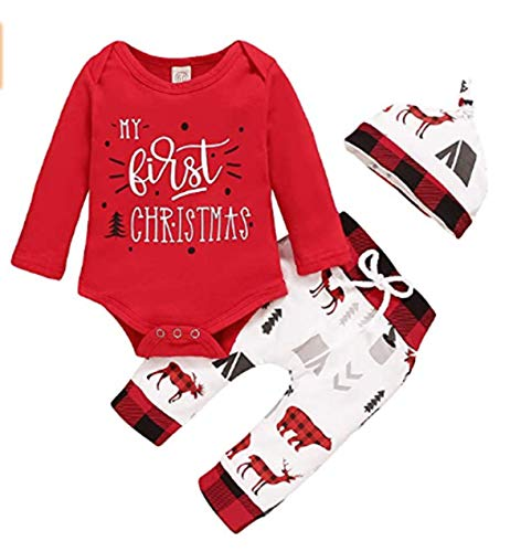 Nuwbay Newborn Baby Boy Girl My First Christmas Outfits Red Romper Bodysuit+ Print Pants+ Hat 3Pcs Christmas Set (0-3 Months)