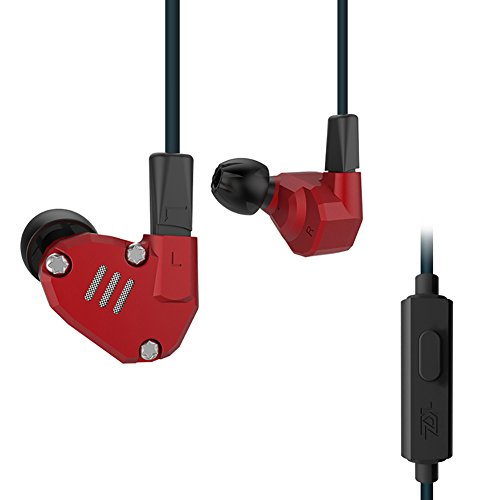 Quad Driver Headphones,ERJIGO KZ ZS6 High Fidelity Extra Bass Earbuds Without Microphone,with Detachable Cable (with Mic, Red)