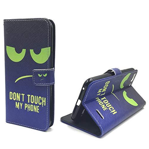 König Design Handyhülle Kompatibel mit Vodafone Smart Ultra 6 Handytasche Schutzhülle Tasche Flip Hülle mit Kreditkartenfächern - Don't Touch My Phone Grün Dunkelblau