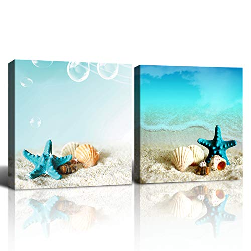 Purple Verbena Art Beach Canvas Wall Art Blue Starfish Seashell Pictures for Bathroom Modern Seascape Stretched and Framed Giclee Canvas Prints Seaview Landscape Artwork 12x12inchx2pcs
