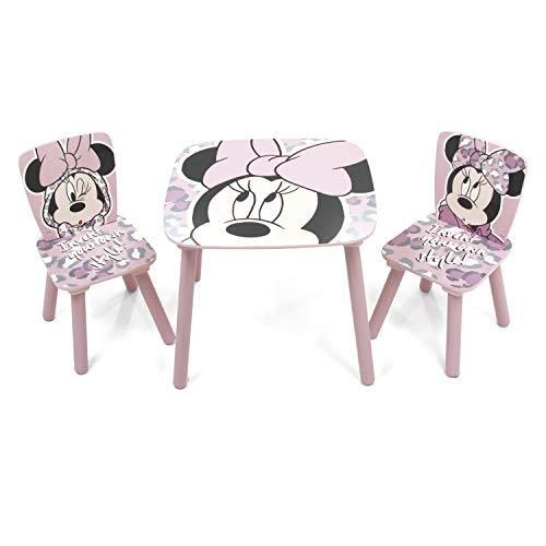Familie24 Minnie Maus 3tlg. Holz Kindersitzgruppe Tisch + 2X Stuhl Sitzgruppe Kindertisch