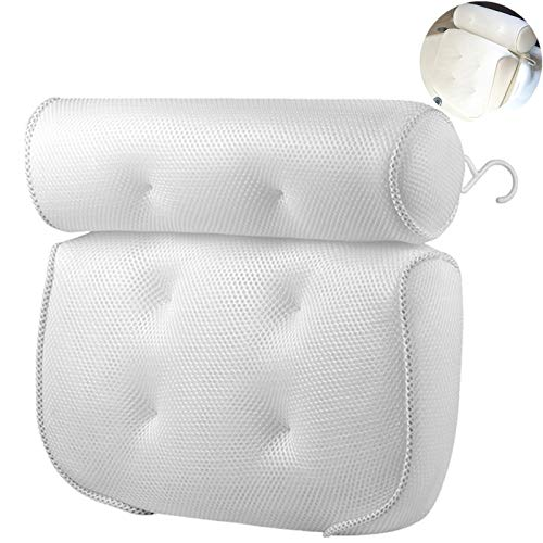 Eastjing Bath Pillow 4D Air Mesh Bathtub Pillow with 6 Large Size Suction Cups Perfect Head, Neck, Back and Shoulder...