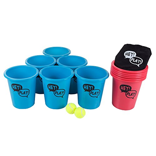 Hey! Play! Large Beer Pong Outdoor Game Set for Kids and Adults with 12 Buckets, 2 Balls, Tote Bag, Blue and Red