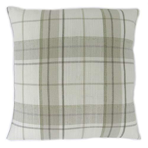 Honey Pot Cushions Funda de cojín hecha a mano de Laura Ashley Highland de tela natural a cuadros de 40 cm x 40 cm.