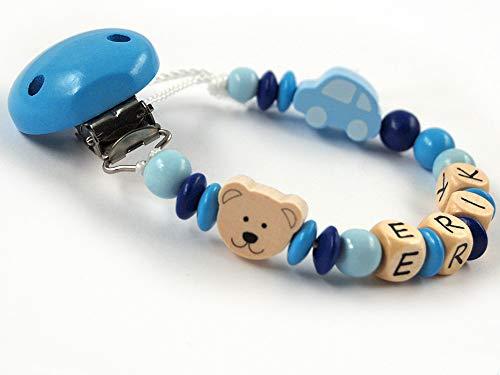 Schnullerkette mit Namen Jungen Holz Teddybär Auto - handgefertigt - Silikonring - Teddy Bär (Skyblau)
