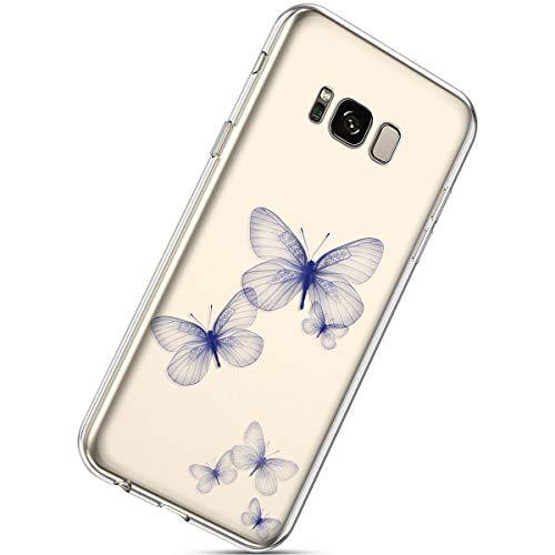Herbests Kompatibel mit Samsung Galaxy S8 Handyhülle Transparent mit Bunt Muster Weiche Silikon Schutzhülle Durchsichtig Klar TPU Rückschale Crystal Clear Case Cover,Schmetterling