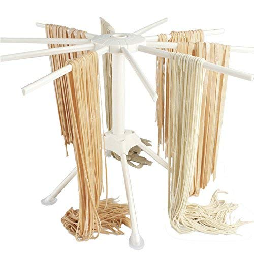 Pasta Drying Rack with 10 bar handles Collapsible Household Noodle Dryer Rack Hanging (White)