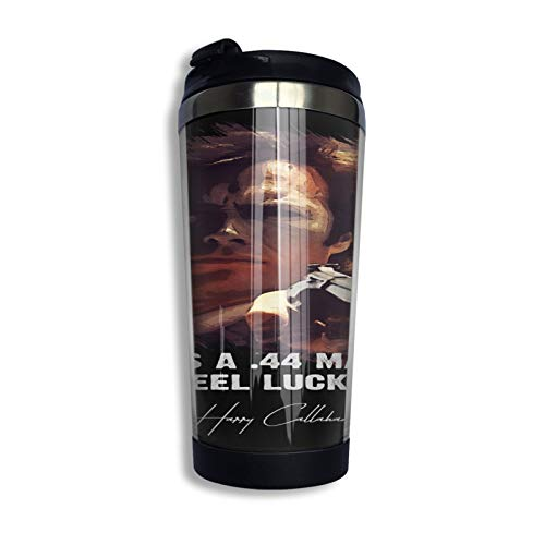 ★ Dirty Harry ★ Do Ya Feel Lucky Punk ➢ Clint Eastwood Famous Movie Quote ⛠Travel Mug Coffee Cup Stainless Steel Vacuum Insulated Tumbler 13.5 Oz