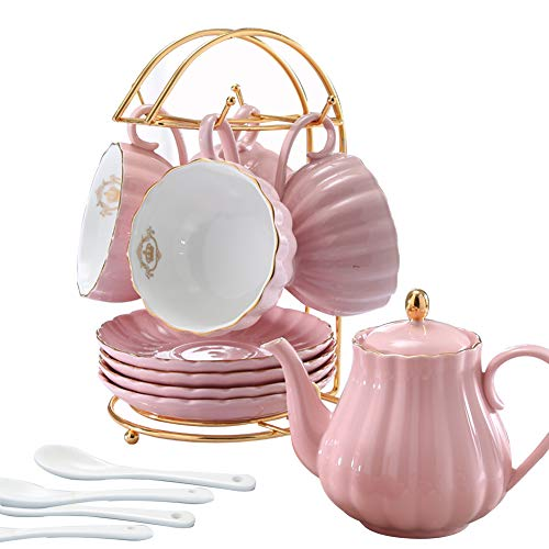 Juego de té y café de porcelana LIERAS con cucharillas de té y platillo de 8 onzas para 4 tazas (juego blanco para 4) Young Pink