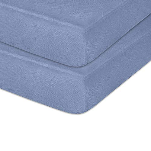 """IDEAhome Jersey Knit Crib Sheet with Fitted Stretch, Standard Baby and Toddler Mattress, 52"""" x 28"""" x 8"""", Denim, 2 Pack"""