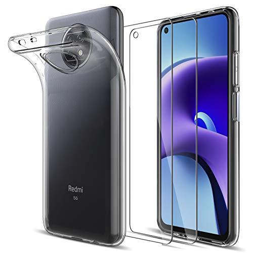 LK Compatible con Xiaomi Redmi Note 9T 5G Funda con 2 Pack Protector de Pantalla Vidrio Templado, HD Transparente Carcasa Ultra Fina Suave TPU Silicona Gel Case Cover - Clara