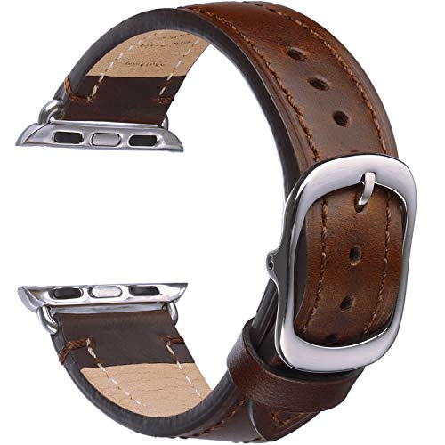 Matematikus Correa Compatible con Apple Watch 44mm 42mm 40mm 38mm Correas de Cuero de Grano Superior, Mujer Hombre Correas de Reloj de Repuesto para iWatch Series 6 5 4 3 2 1 SE, Sport, Edition