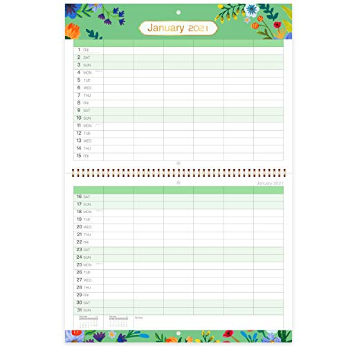Calendario 2021 - Calendario 2021 - Calendario da parete 2021 da gennaio a dicembre, calendario mensile da visualizzare con blocchi rigati e panoramica annuale, 29 x 39 cm