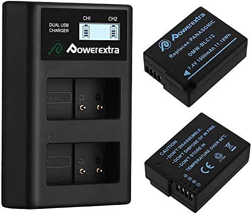 Powerextra Reemplazo DMW-BLC12 Panasonic DMW-BLC12E 2 X Baterías con Cargador Pantalla LCD Compatible con Panasonic Lumix DMC-FZ200 DMC-FZ1000 DMC-FZ2000 / 2500 DMC-G5 DMC-G6 DMC-G7 DMC-GX8 DMC-G85
